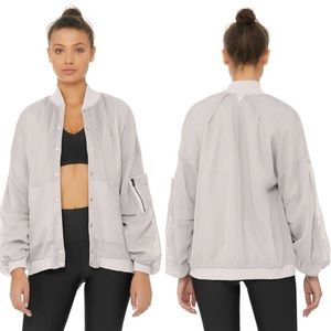 ALO Yoga Field Bomber Jacket Dove Grey Size M NWT